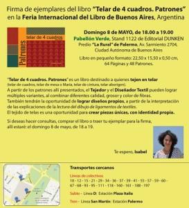 Libro en pequeño formato: 22,50 x 15,50 x 0,50 cm - 64 Páginas - 48 Patrones - Precio: $ 150.- (21/04/2016) imtextil@gmail.com / admin@imtextil.com.ar FB: IMTextil Telares
